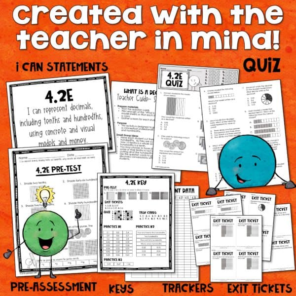 4 2(E) Math TEKS 4 2E KIT - Representing decimals- tenths & hundredths with  models & money