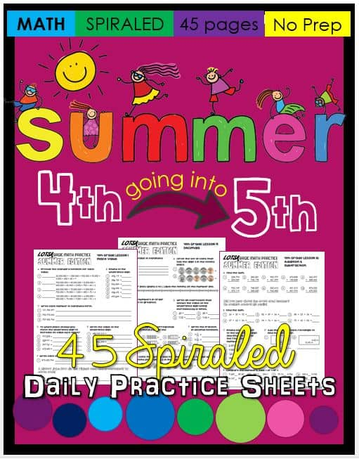 Summer Math Practice for 4th graders going into 5th grade