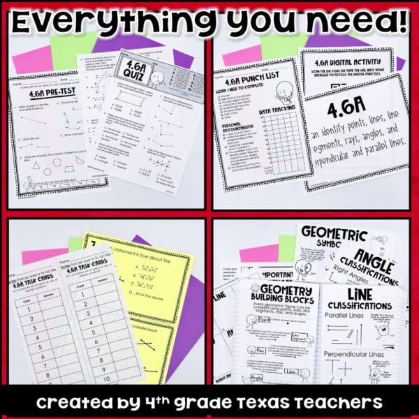 4 6(A) 4th Grade Geometry TEKS 4 6A Geometric Figures, Lines, Angles and  more!