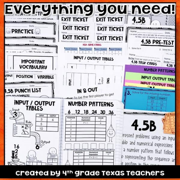 4 5 B Input Output Tables Numerical Expressions Rules TEKS 4 5B 4th Grade Math
