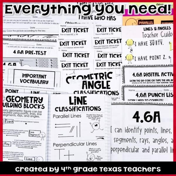 4 6 A 4th Grade Geometry TEKS 4 6A Geometric Figures Lines Angles And More